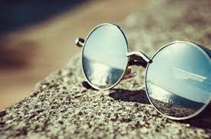 Pair of glasses with a reflection